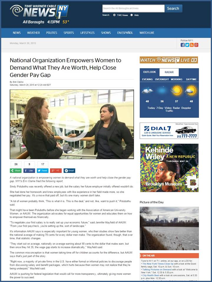NY1 News - National Organization Empowers Women to Demand What They Are Worth, Help Close Gender Pay Gap